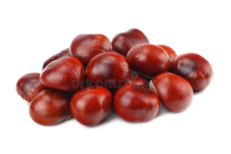 Chestnuts isolated on white background. Healthy background stock photo