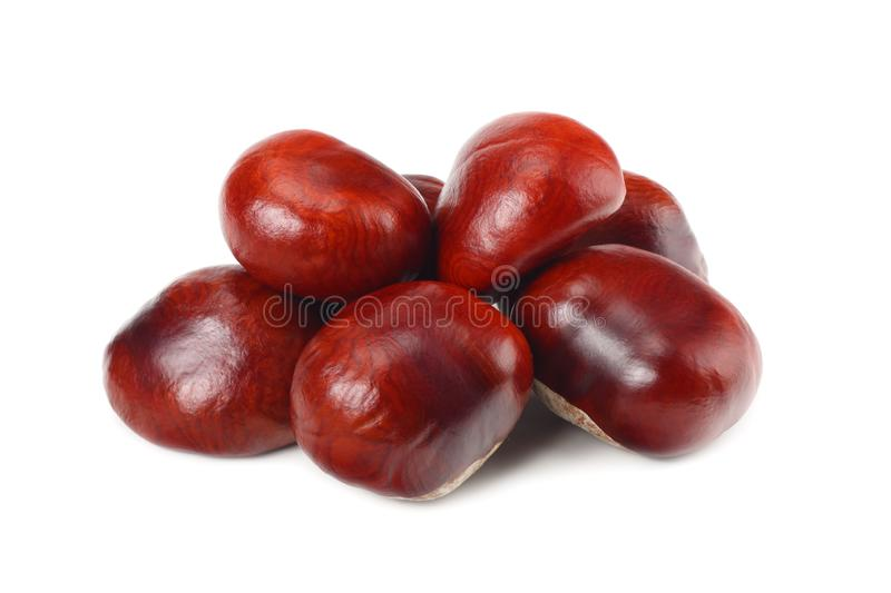 Chestnuts isolated on white background. Healthy background. Healthy food stock photos