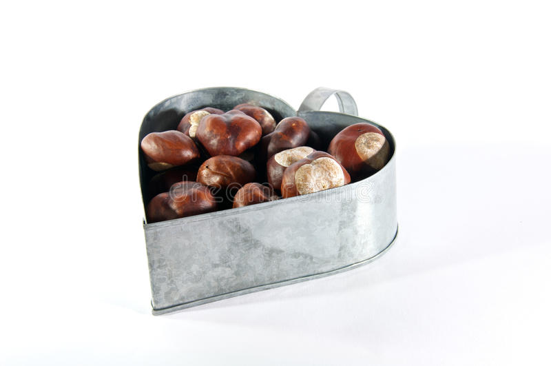 Chestnuts in metal heart stock image
