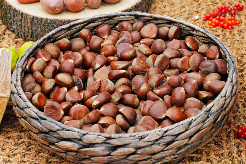 Chestnuts in a wicker basket stock images