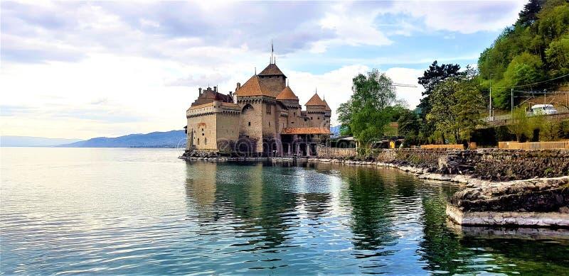 Cheteau-DE-Chillon in Montreux, Zwitserland stock afbeelding