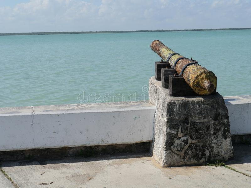 Chetumal mexico beach summer cannon memorial architecture Symbol and Landmark. Chetumal mexico beach summer Memorial tower architecture Symbol and Landmark war royalty free stock images