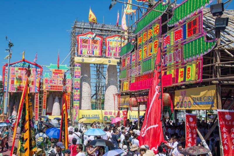 Cheung Chau Da Jiu bullefestival, Hong Kong Torn välsignelse fotografering för bildbyråer