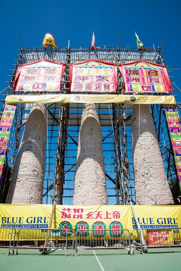 Cheung Chau Da Jiu bullefestival, Hong Kong Torn välsignelse arkivbild