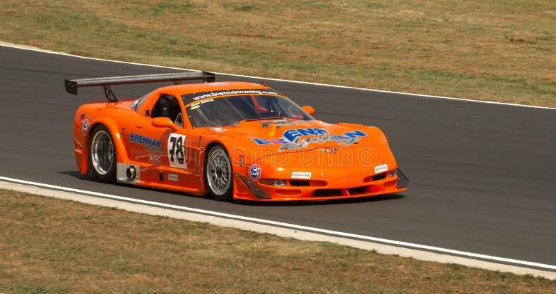 Chev Corvette Racebil fotografering för bildbyråer