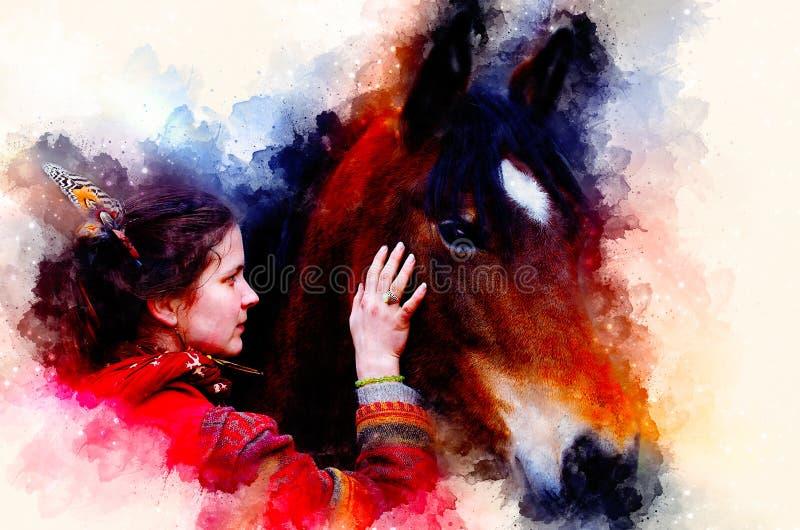 Cheval affectueux et une fille, fille étreignant un cheval Femme de portrait et cheval et fond doucement brouillé d'aquarelle illustration de vecteur