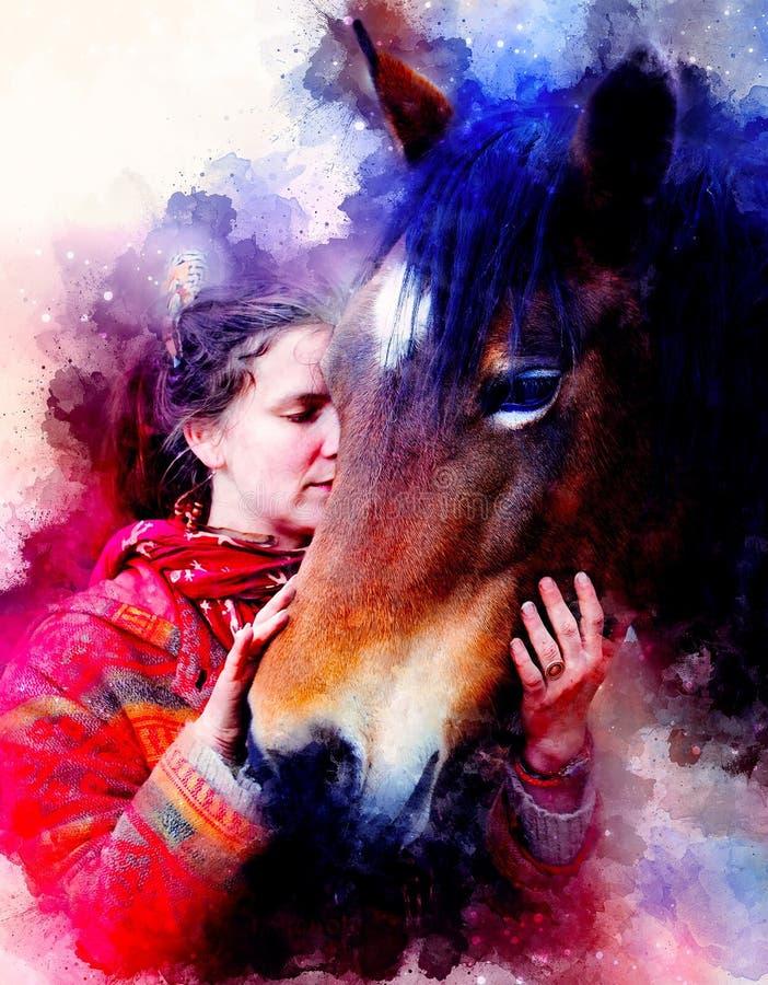 Cheval affectueux et une fille, fille étreignant un cheval Femme de portrait et cheval et fond doucement brouillé d'aquarelle illustration stock