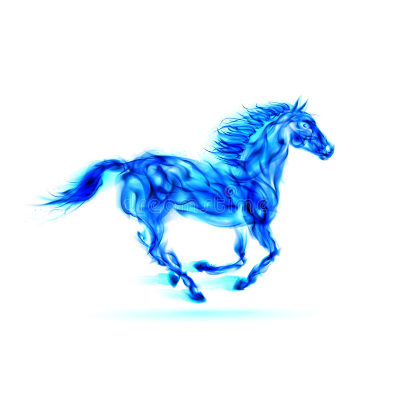 Cheval bleu courant du feu. illustration stock