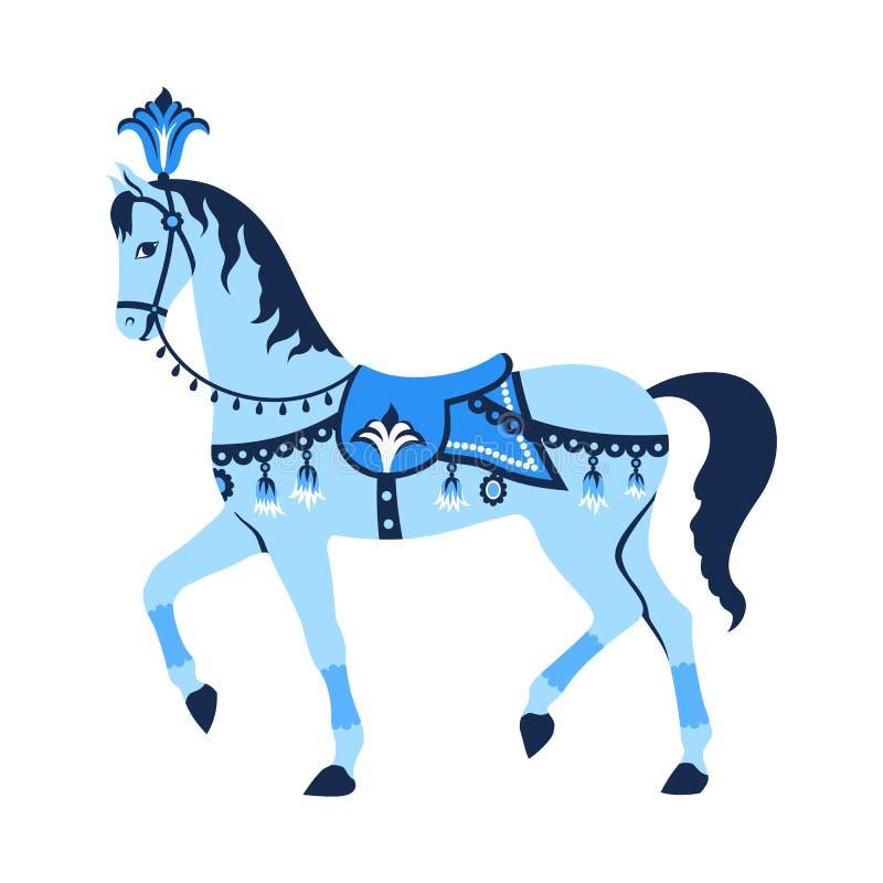 Cheval bleu de carrousel illustration de vecteur