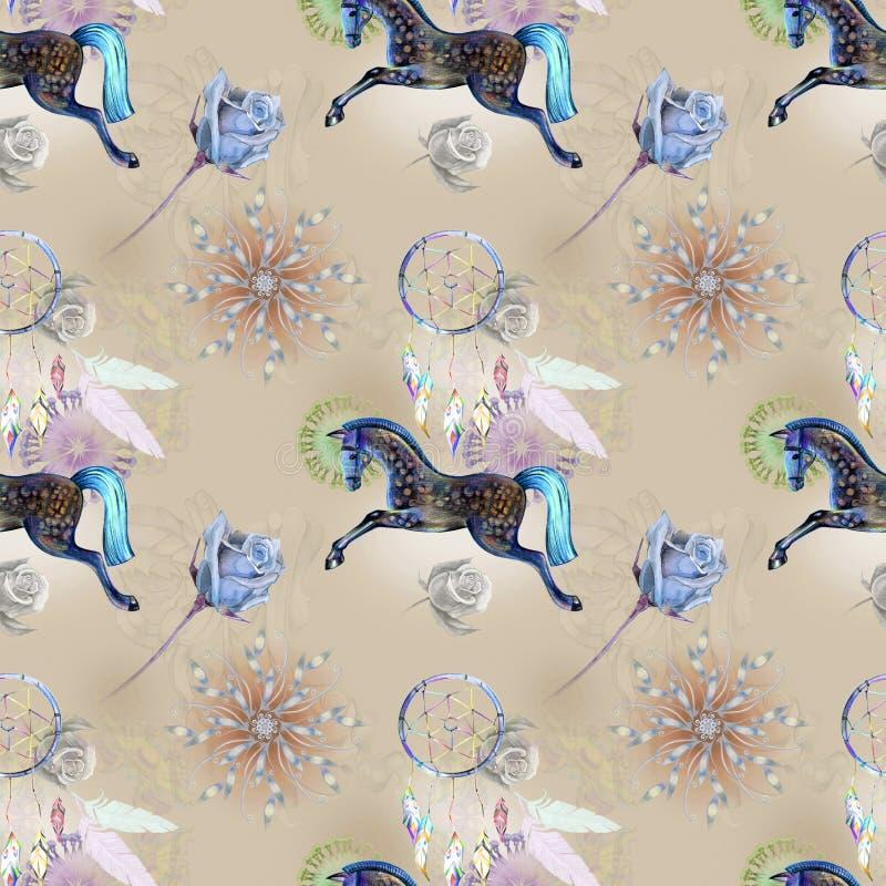 Cheval bleu sur le modèle illustration libre de droits