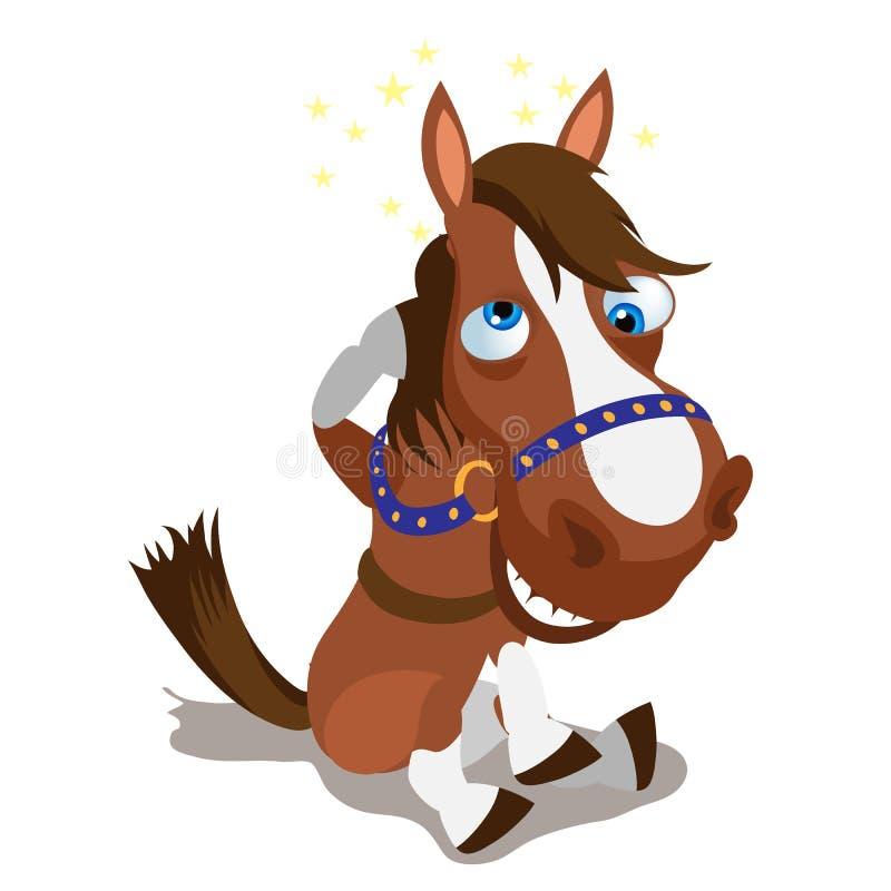 Cheval brun abasourdi sur un fond blanc illustration libre de droits