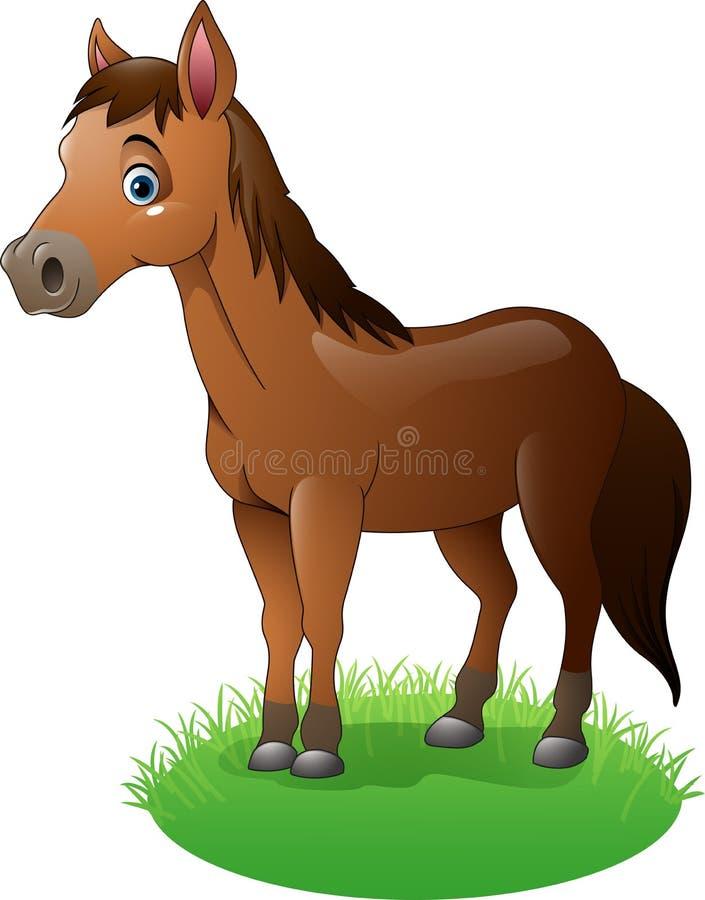 Cheval brun de bande dessinée sur l'herbe illustration de vecteur
