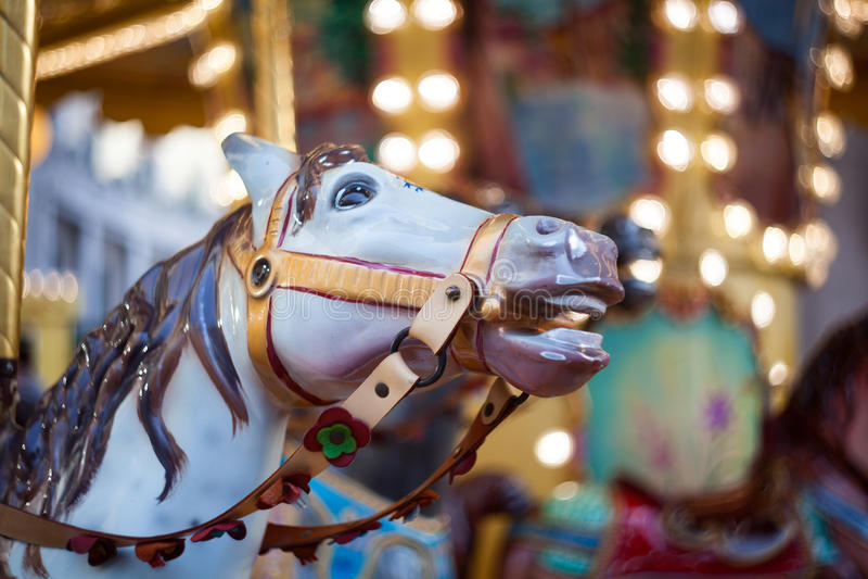 Cheval, carrousel de vintage images libres de droits