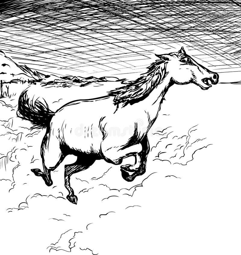 Cheval courant décrit avec la poussière illustration libre de droits