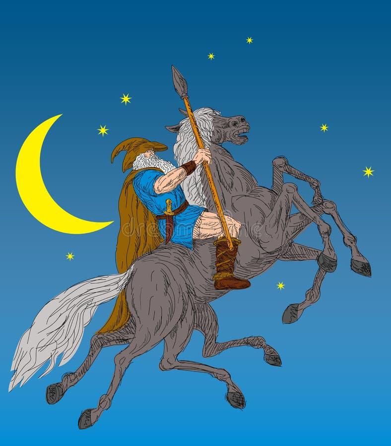 Cheval d'équitation d'Odin de Dieu des norses illustration de vecteur