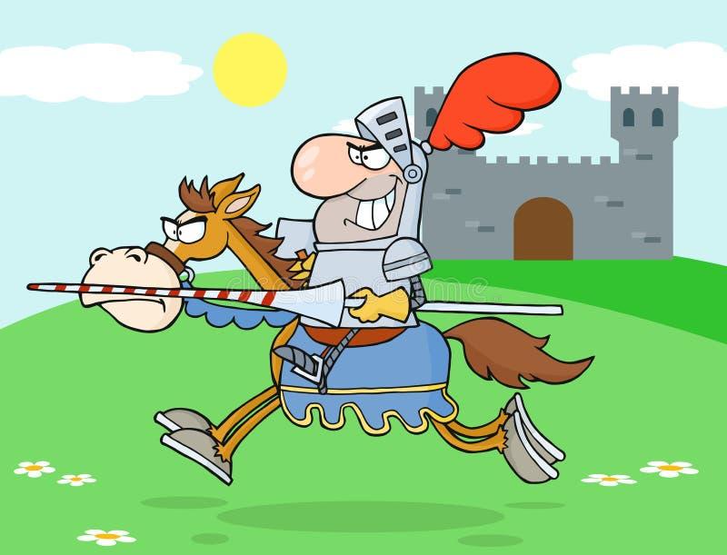 Cheval d'équitation de chevalier illustration stock