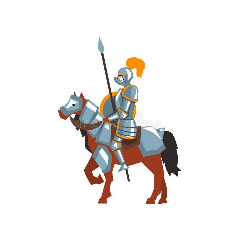 Cheval d'équitation de chevalier avec la lance et le bouclier Guerrier royal dans l'armure en acier Conception plate de vecteur p illustration libre de droits