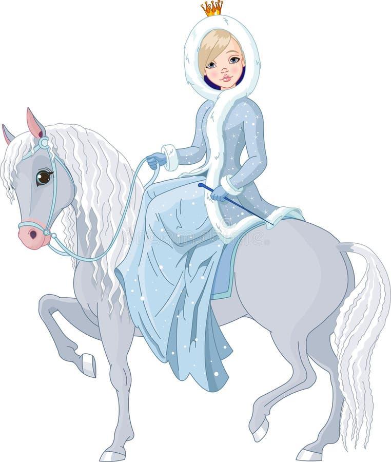 Cheval d'équitation de princesse. L'hiver illustration de vecteur
