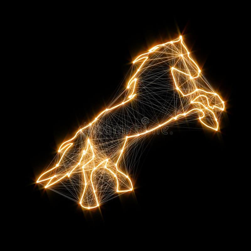 Cheval d'or brillant magique Points reliés illustration de vecteur