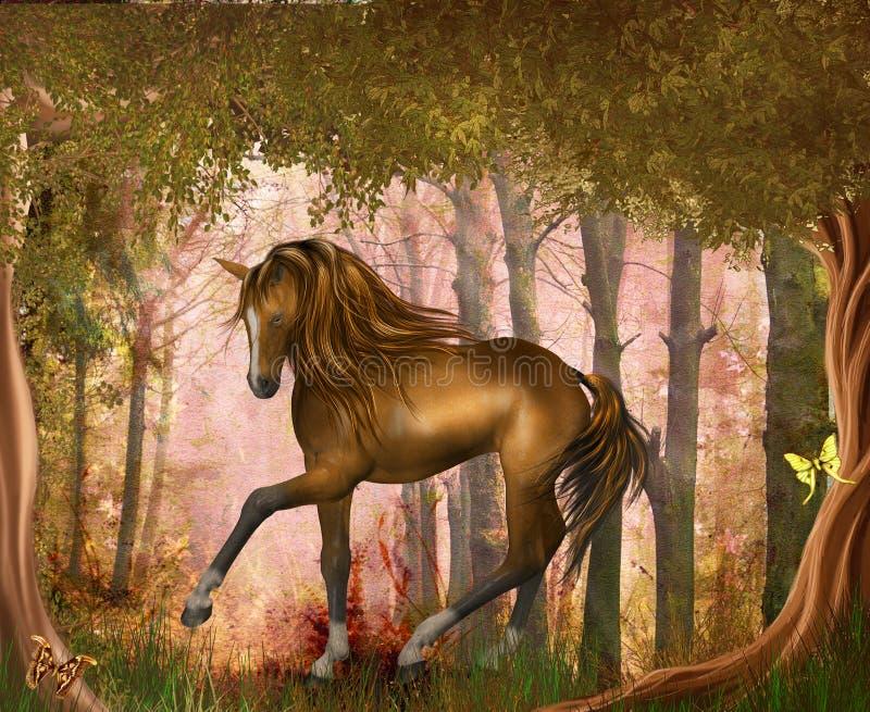 Cheval dans forrest magique illustration libre de droits