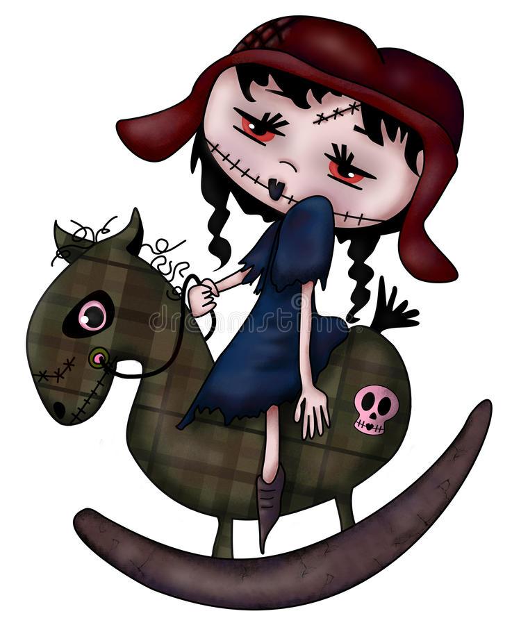 Cheval de basculage de zombi illustration stock