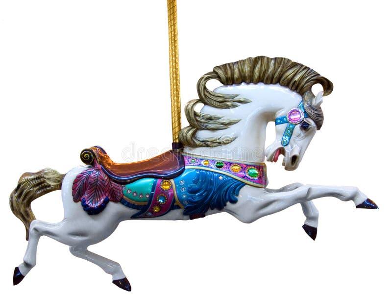 Cheval de carrousel d'isolement photographie stock libre de droits