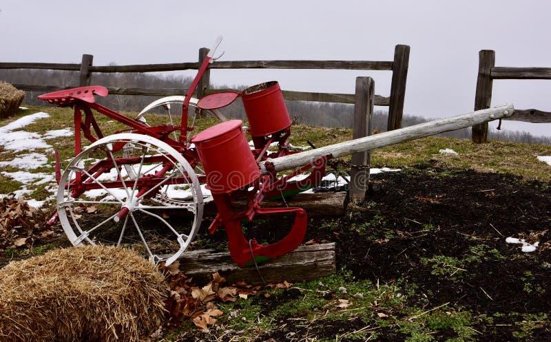 Cheval de deux rangées/planteur de maïs conduit par mule photographie stock