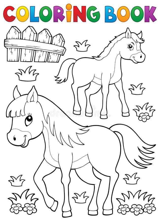 Cheval de livre de coloriage avec le thème 1 de poulain illustration de vecteur