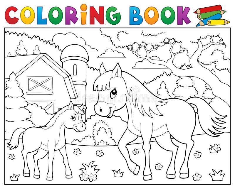 Cheval de livre de coloriage avec le thème 2 de poulain