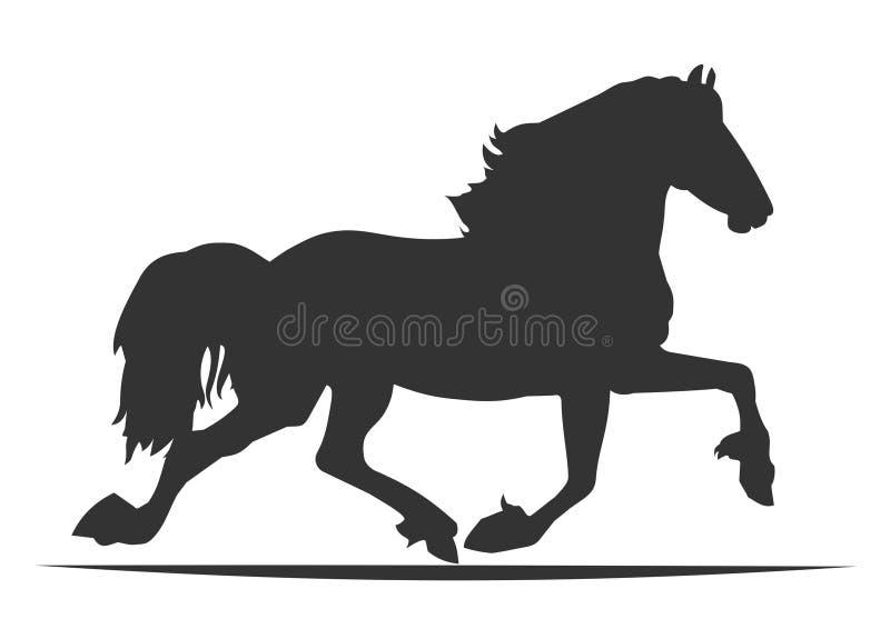 Cheval de silhouette sur le fond blanc illustration libre de droits