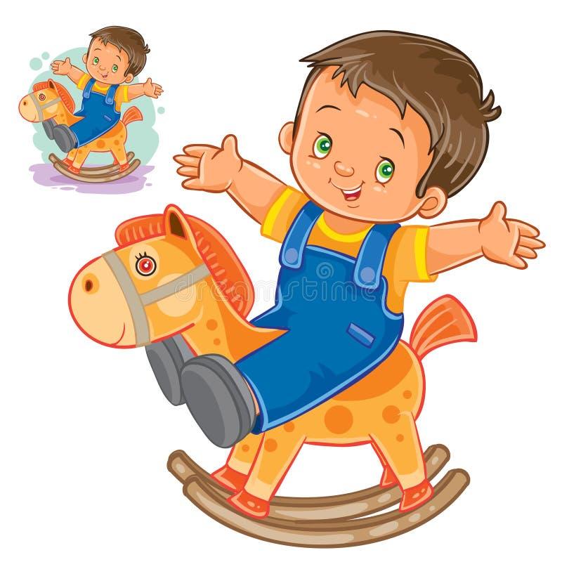 Cheval en bois de basculage de petit garçon illustration stock