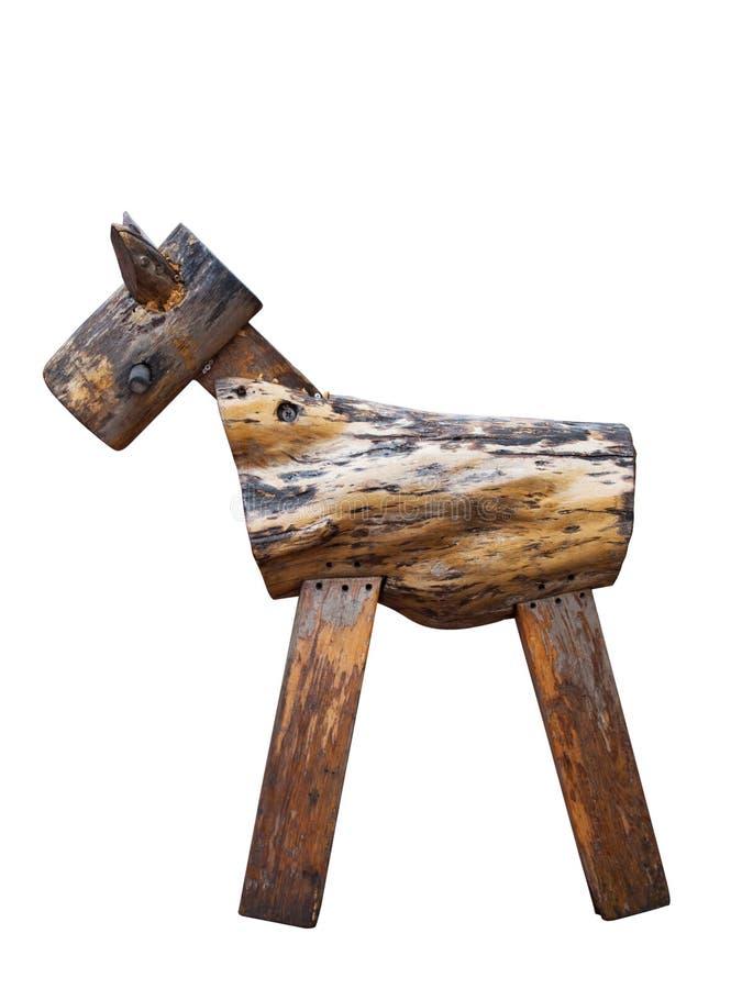 Cheval en bois de jouet de vintage d'isolement photos libres de droits