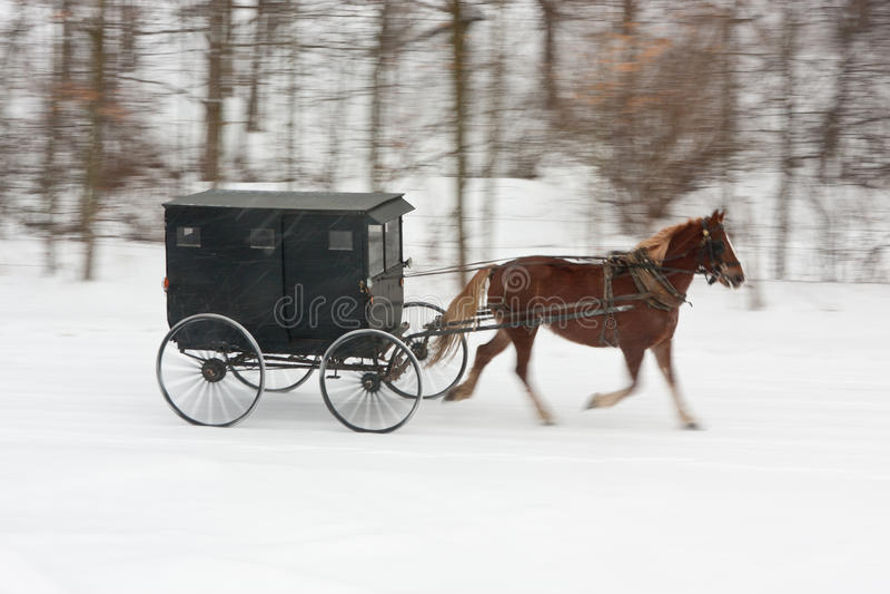 Cheval et chariot amish sur la route neigeuse images stock