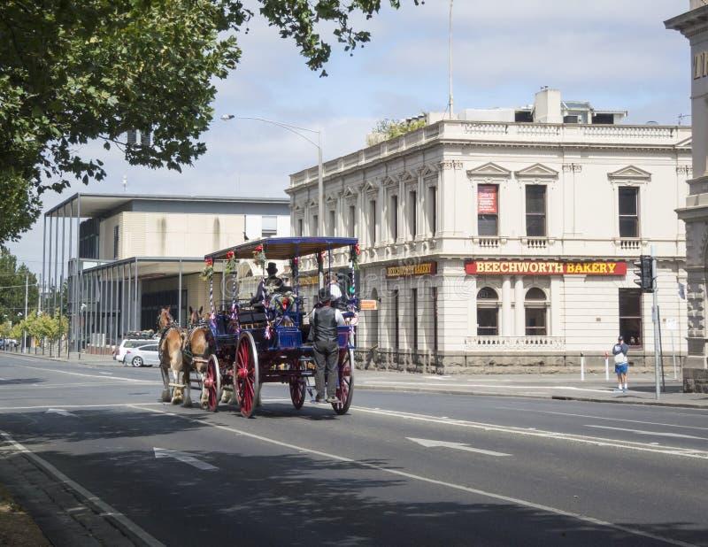 Cheval et chariot, Ballarat, Victoria, Australie image libre de droits