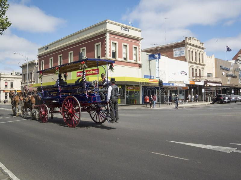 Cheval et chariot, Ballarat, Victoria, Australie photos libres de droits