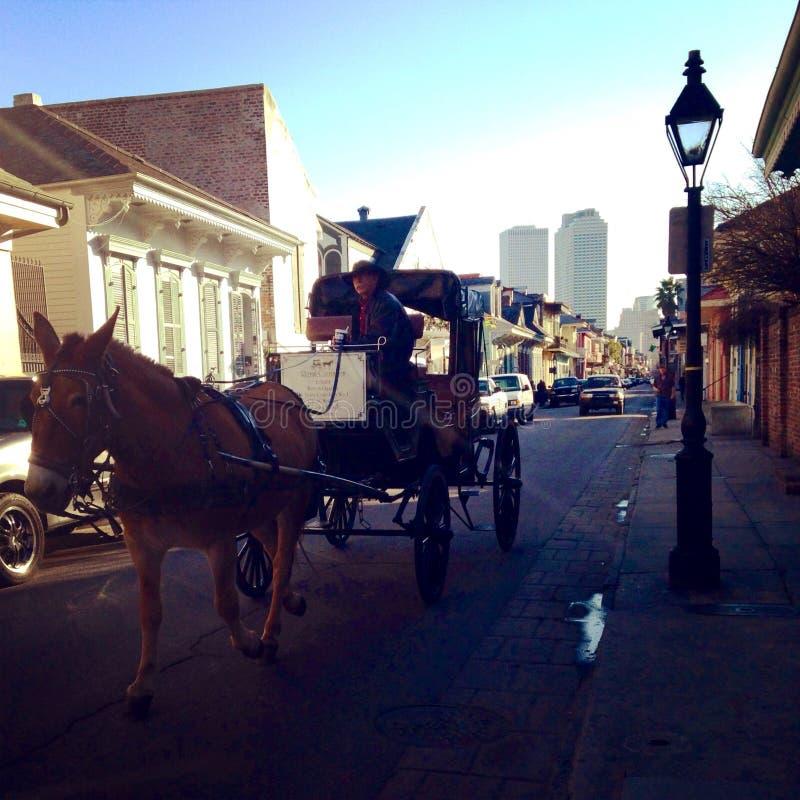 Cheval et chariot sur la rue de Bourbon à la Nouvelle-Orléans Louisiane image libre de droits