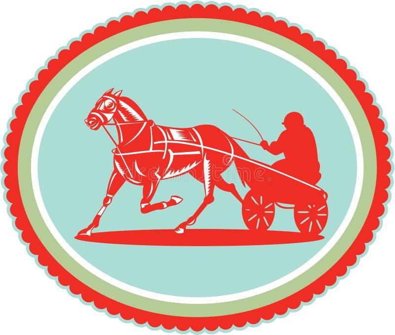 Cheval et jockey Harness Racing Rosette Retro illustration libre de droits