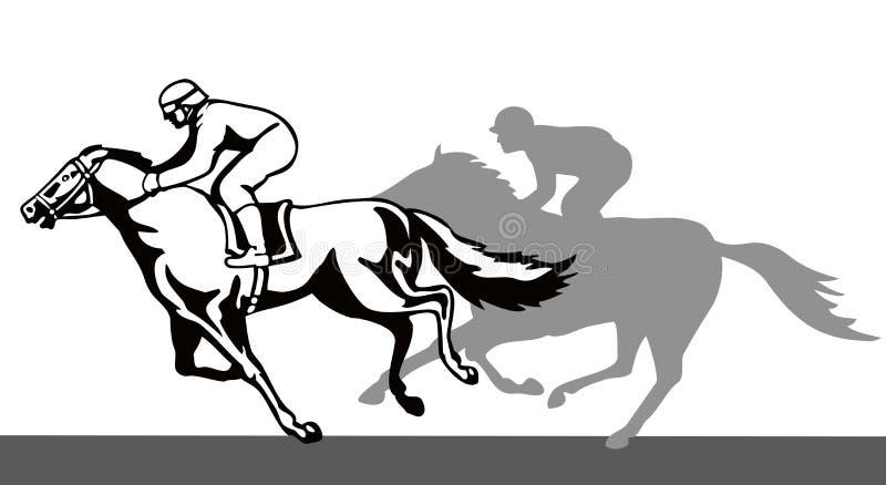 Cheval et jockey sur un gain illustration libre de droits