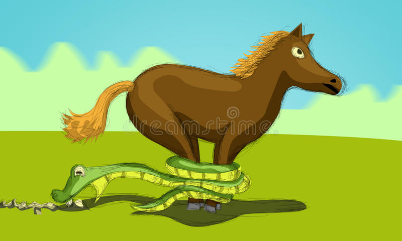 Cheval et serpent essayant de s'arrêter illustration libre de droits