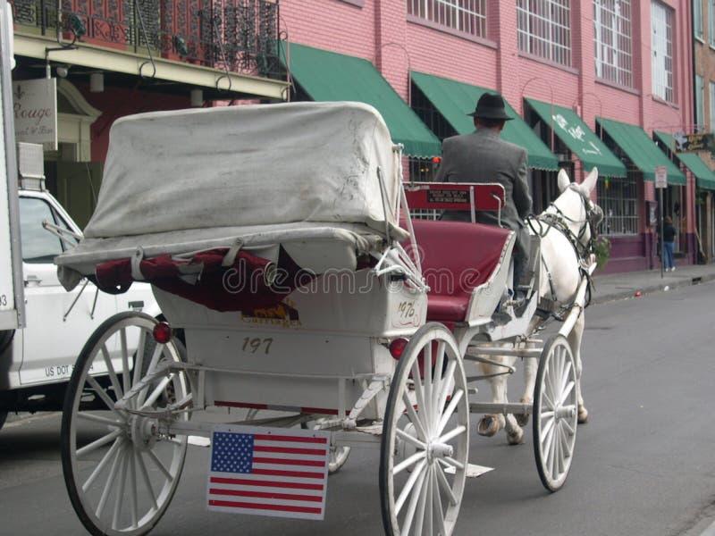 Cheval et service avec des erreurs de chariot, la Nouvelle-Orléans, LA photo stock