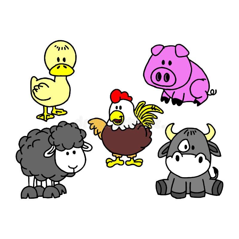 Cheval et vache, âne et moutons, chèvre et porc, chien et lapin, oie et poule illustration stock