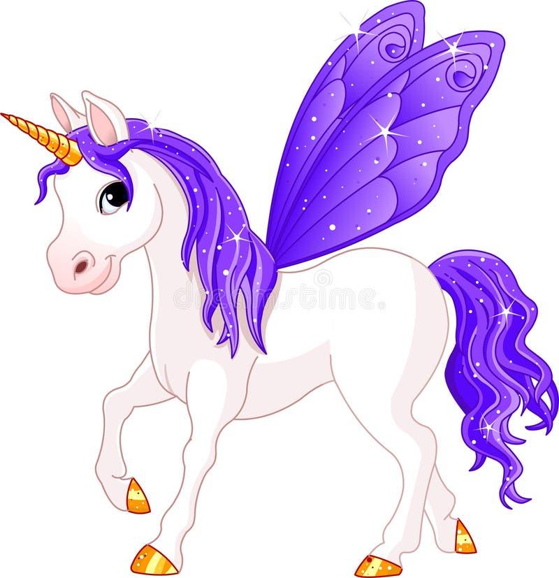 Cheval féerique de violette d'arrière illustration stock