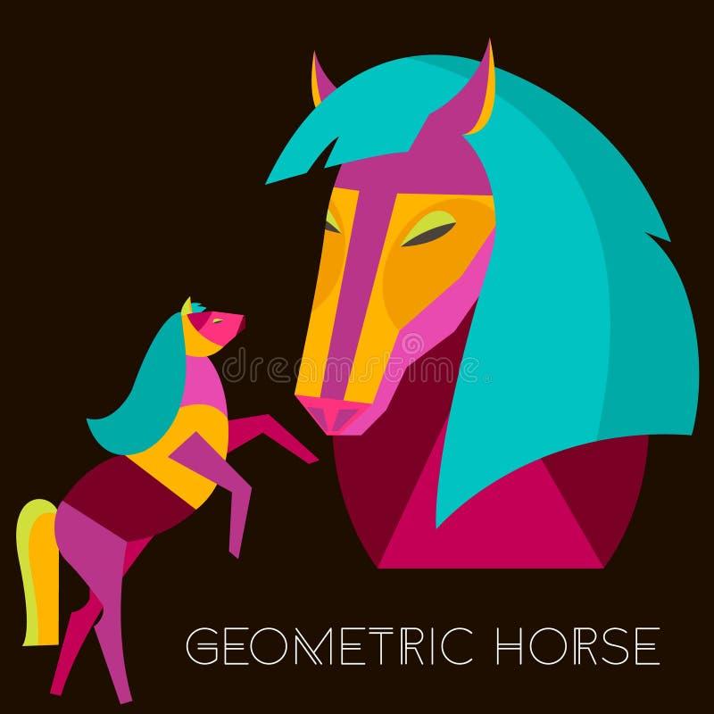 Cheval géométrique Cheval abstrait réglé dans le style plat Illustration de vecteur illustration libre de droits