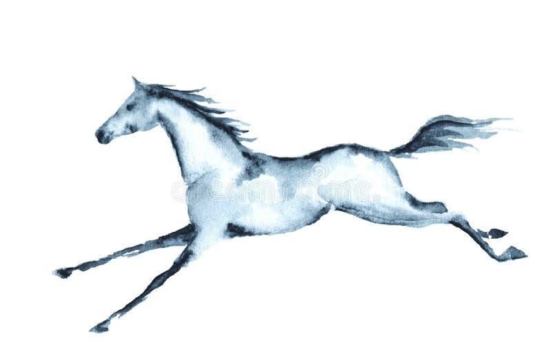 Cheval galopant d'aquarelle humide illustration stock