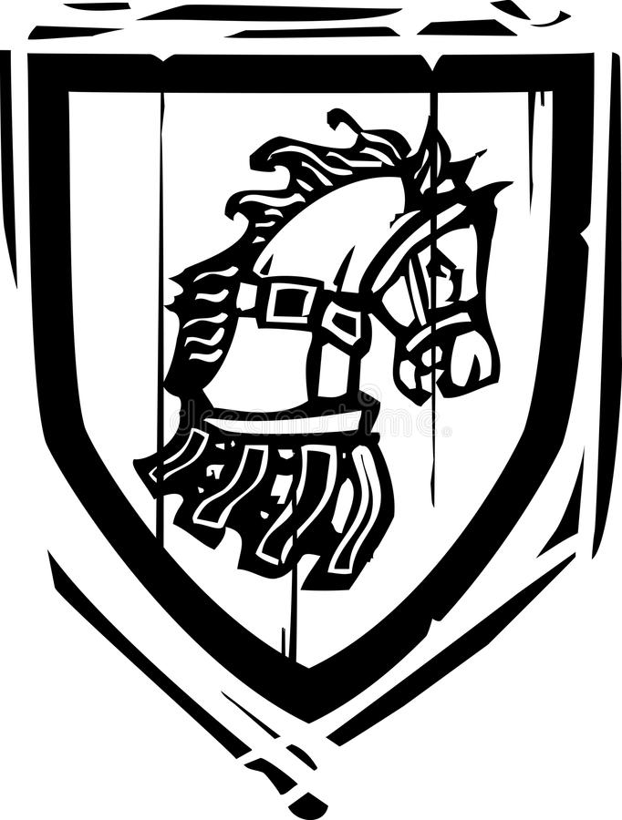 Cheval héraldique de bouclier illustration de vecteur