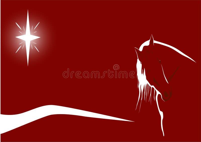 Cheval illuminé par les étoiles sur le rouge illustration de vecteur