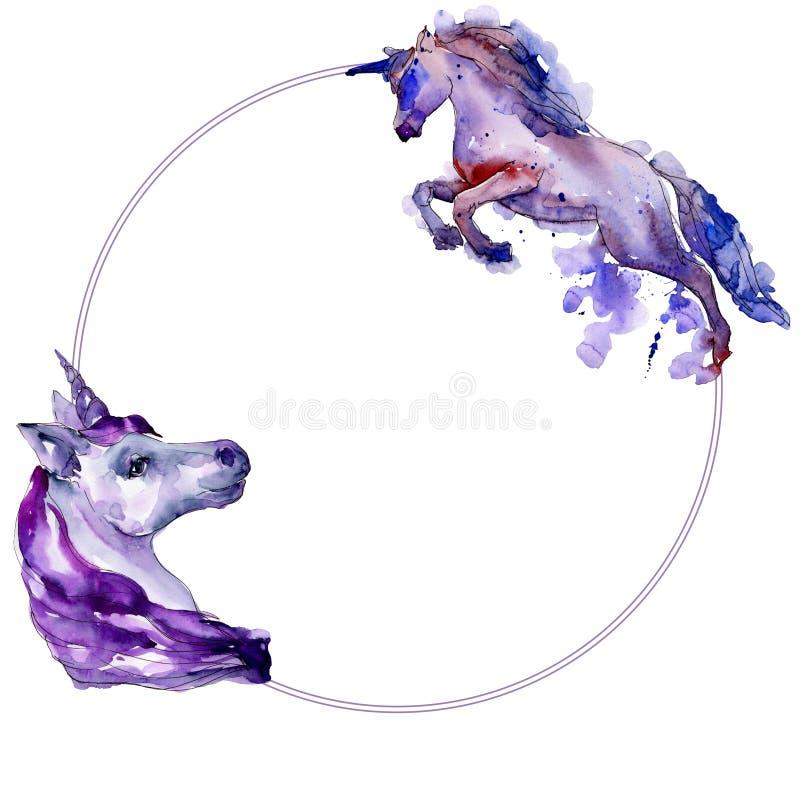 Cheval mignon de licorne Rêve doux d'enfants de conte de fées Fond d'aquarelle Frontière ronde de cadre avec la licorne tirée par illustration stock