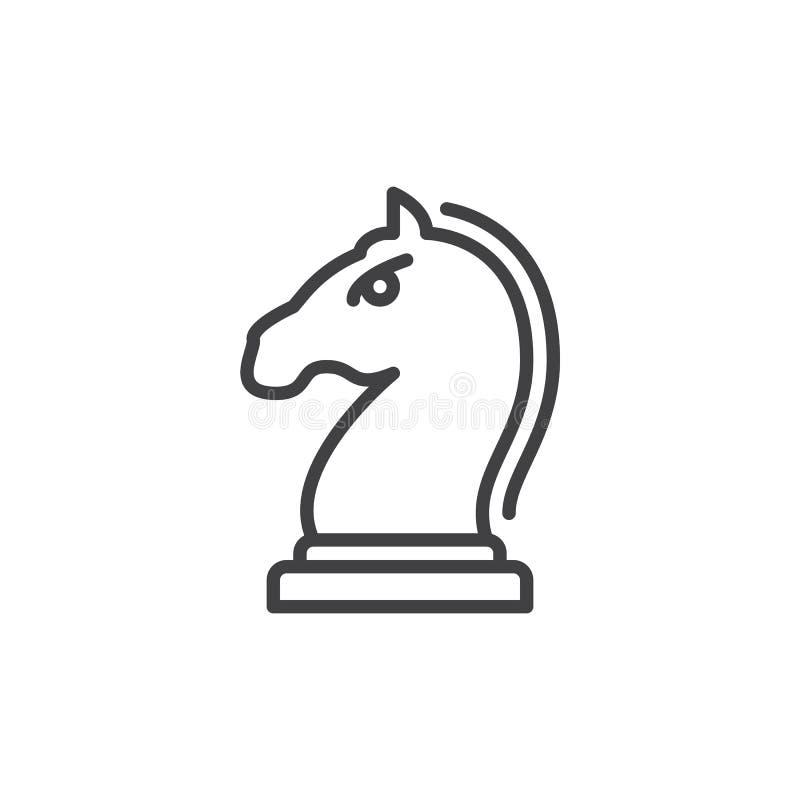 Cheval, morceau de chevalier dans la ligne icône de jeu d'échecs illustration libre de droits
