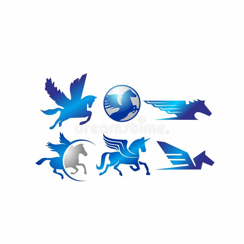 Cheval, Pegasus, licorne, équestre, équine, mustang, animal dans le logo d'ensemble d'icône de vecteur d'actions d'illustration d illustration libre de droits
