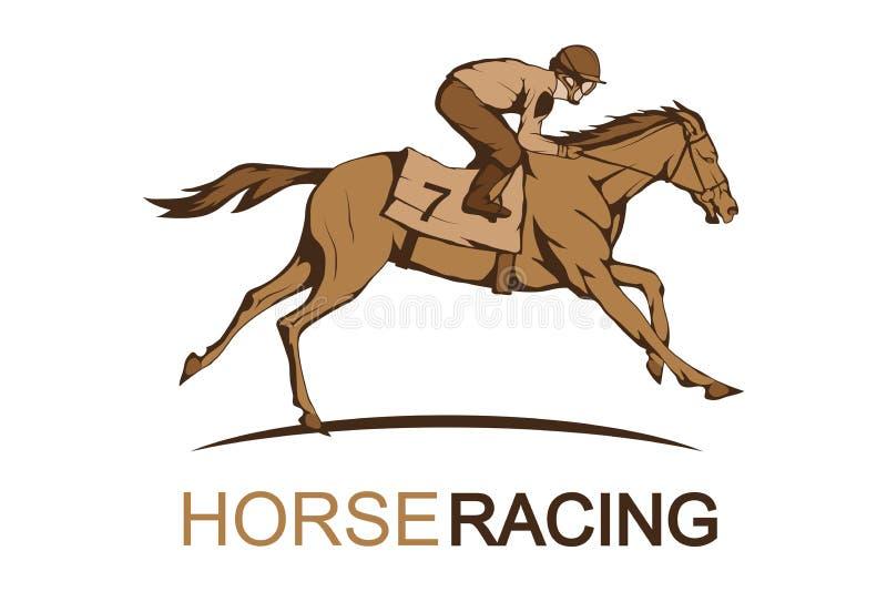 Cheval Racing Jockey sur le cheval d'emballage fonctionnant à la ligne d'arrivée illustration de vecteur